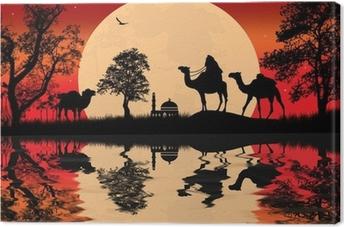 Tableau sur toile Bédouin chameau caravane