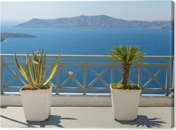 Tableau sur toile Belle vue sur la mer de Fira à Santorin, Grèce