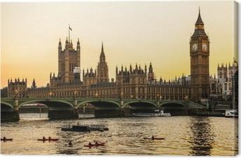 Tableau sur toile Big Ben Clock Tower et de la Chambre du Parlement à City of Westminster,