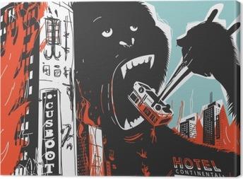 Tableau sur toile Big Gorilla détruit la ville
