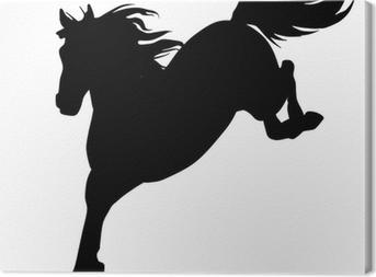 Tableau sur toile Black horse silhouette 14 (vecteur)