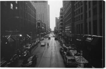 Tableau sur Toile Blanc Chicago Rues Noir et