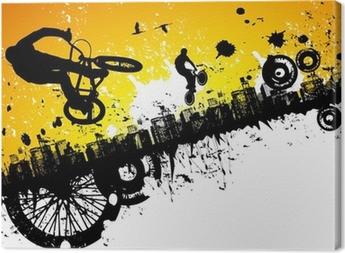 Tableau sur toile BMX dans un fond de ville