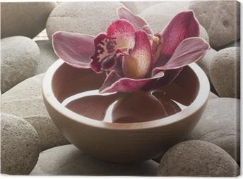 Tableau sur toile Bol eau galets orchidée feng shui