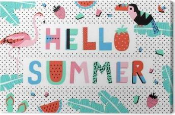Tableau sur toile Bonjour affiche d'été