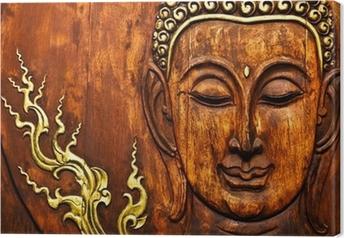 Tableau sur toile Bouddha en bois de style thaïlandais sculpture