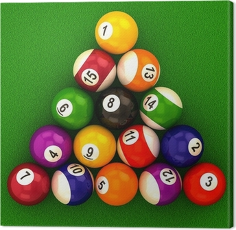 Tableau sur toile Boules de billard avec des nombres