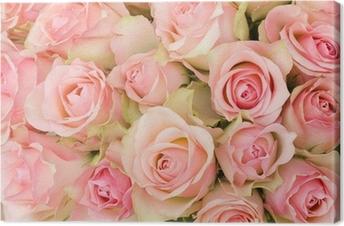 Tableau sur Toile Bouquet de roses roses.
