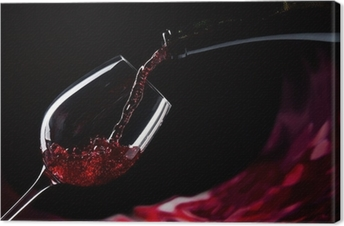 Tableau sur toile Bouteille et un verre de vin rouge