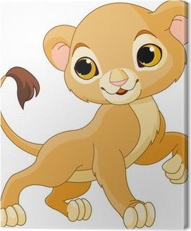Tableau Sur Toile Drôle De Dessin Animé Bébé Lion Pixers Nous