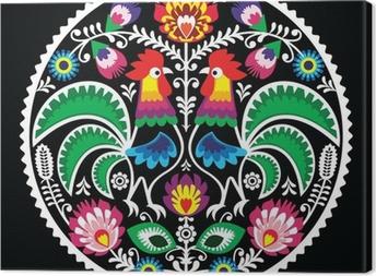 Tableau sur toile Broderie florale polonais avec des coqs - folklorique