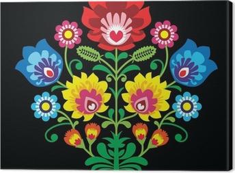 Tableau sur toile Broderie folklorique polonaise avec des fleurs - modèle traditionnel