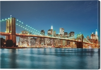 Tableau sur toile Brooklyn bridge at night