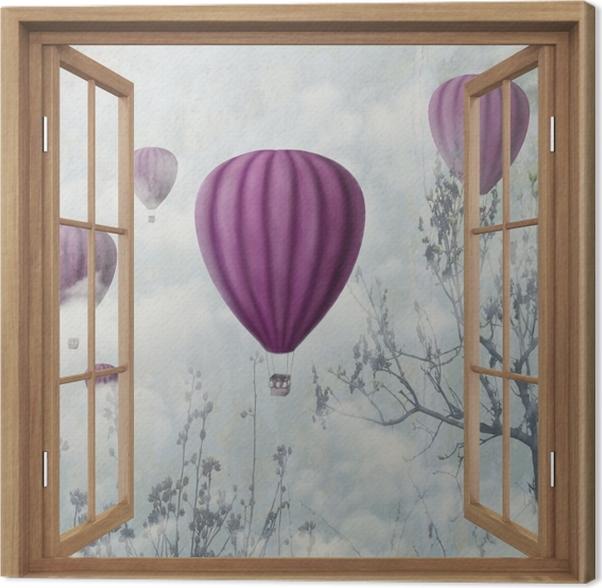 Tableau sur toile Brown a ouvert la fenêtre - Ballons dans le ciel - La vue à travers la fenêtre