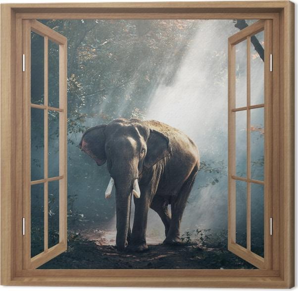 Tableau éléphant foret 5 tableaux sur toile brown a ouvert la fenetre elephant dans la foret