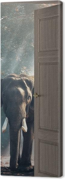 Tableau sur toile Brown Porte - Éléphant Dans La Forêt -