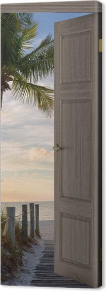 Tableau sur toile Brown Porte - Panorama -