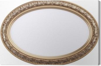 Tableau sur toile Cadre de tableau ovale doré ou miroir isolé sur blanc