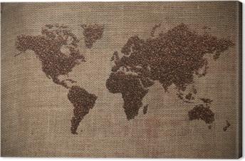 Tableau sur toile Café carte du monde