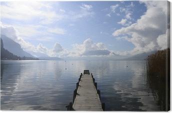 Tableau sur toile Calme, vue sur le lac d'Annecy