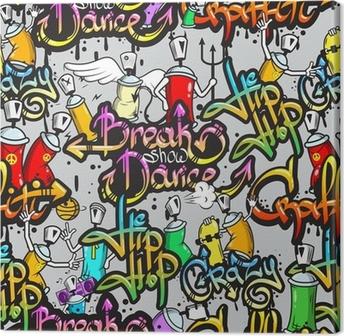 Tableau sur toile Caractères Graffiti, seamless