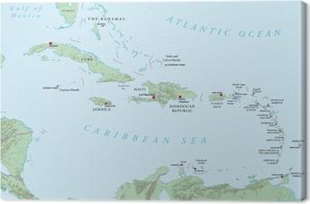 Tableau sur toile Caraïbes - grandes et petites Antilles - Carte politique