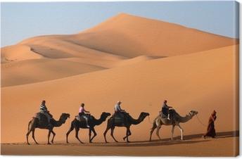 Tableau sur toile Caravane de chameau dans le désert du Sahara