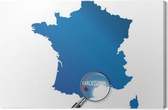 Tableau sur toile Carcassonne: Localisation sur carte de France - Aude