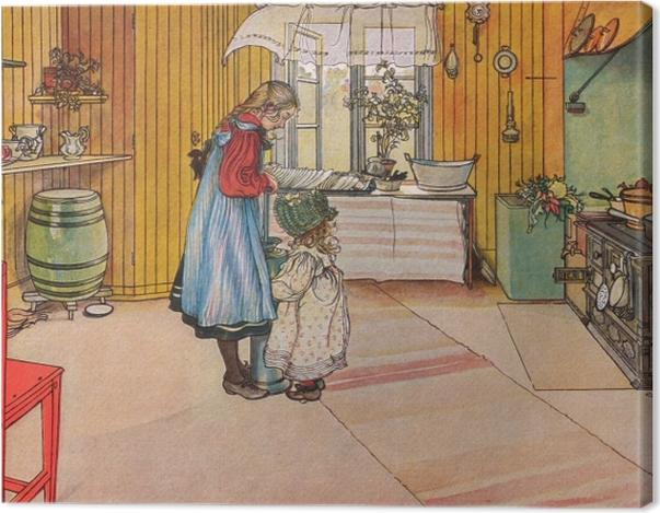 Tableau sur toile Carl Larsson - La Cuisine - Reproductions