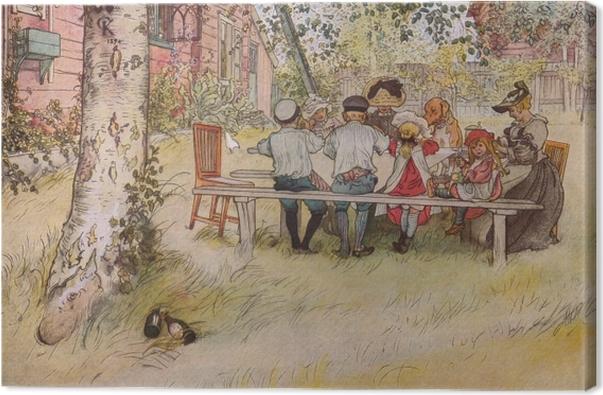 Tableau sur toile Carl Larsson - Petit déjeuner sous le grand bouleau - Reproductions