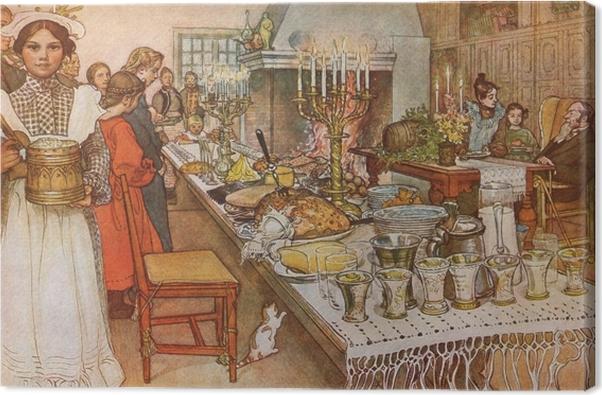 Tableau sur toile Carl Larsson - Réveillon de Noël - Reproductions