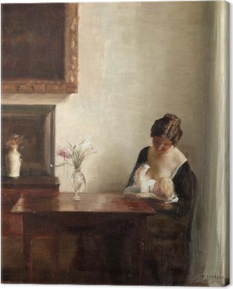 Tableau sur toile Carl Vilhelm Holsøe - Intérieur avec femme et enfant - Reproductions