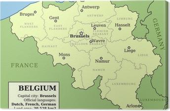 Tableau sur toile Carte de Belgique