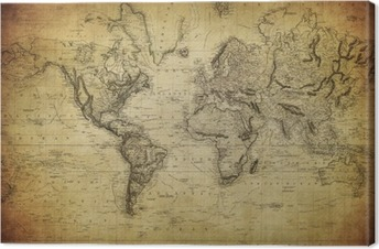 Tableau sur toile Carte de cru du monde 1814 ..