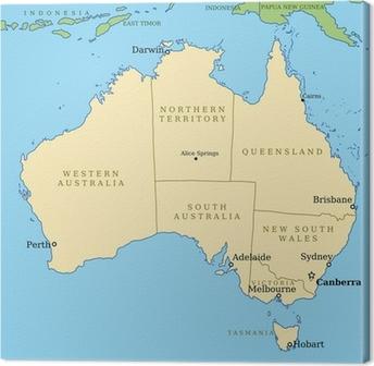 Carte Australie Grande Ville.Tableau Sur Toile Carte De L Australie Avec Les Grandes Villes Et