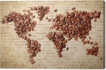 Tableau sur toile Carte du monde des grains de café