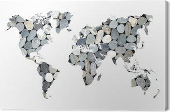 Tableau sur toile Carte du monde galets, fond blanc