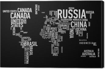 Tableau sur toile Carte du monde: les pays de wordcloud