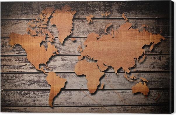tableau sur toile carte du monde sculpture sur bois planche pixers nous vivons pour changer. Black Bedroom Furniture Sets. Home Design Ideas