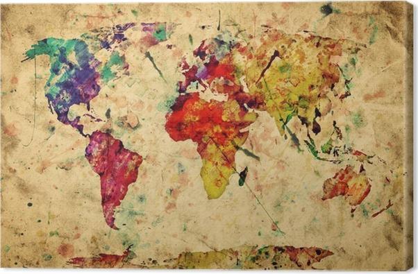 tableau sur toile carte du monde vintage peinture color e. Black Bedroom Furniture Sets. Home Design Ideas