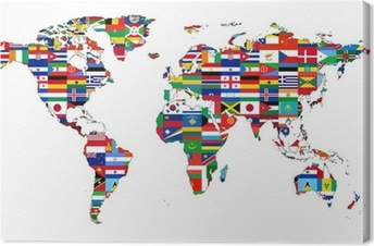 Tableau sur toile Carte du Monde with drapeaux