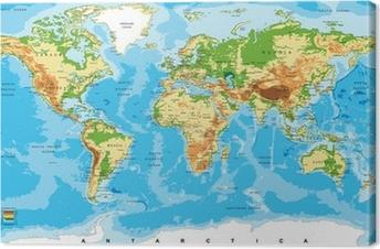 Tableau sur toile Carte physique du monde
