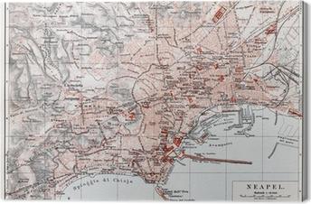 Tableau sur toile Carte vintage de Naples (Napoli) à la fin du 19ème siècle