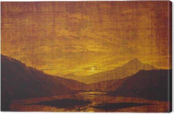 Tableau sur toile Caspar David Friedrich - Paysage de rivière montagneuse - Reproductions