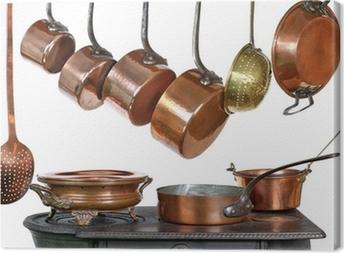 Tableau sur toile Casseroles et ustensiles de cuisine en cuivre