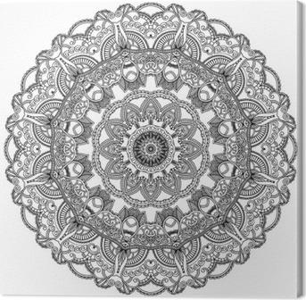 Tableau sur toile Cercle de dentelle noire sur fond blanc. Ornement mandala