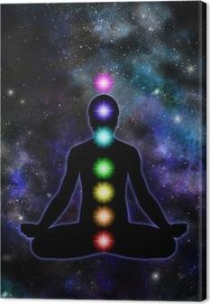 Tableau sur toile Chakra Meditation sur fond de l'espace