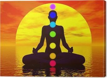 Tableau sur toile Chakras au coucher du soleil - 3D
