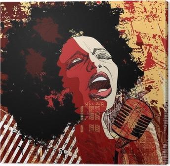 Tableau sur toile Chanteuse de jazz sur le fond grunge