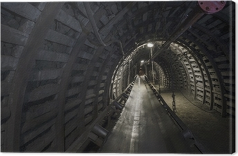 Tableau sur toile Charbon machines de la mine: convoyeur à bande dans le tunnel souterrain
